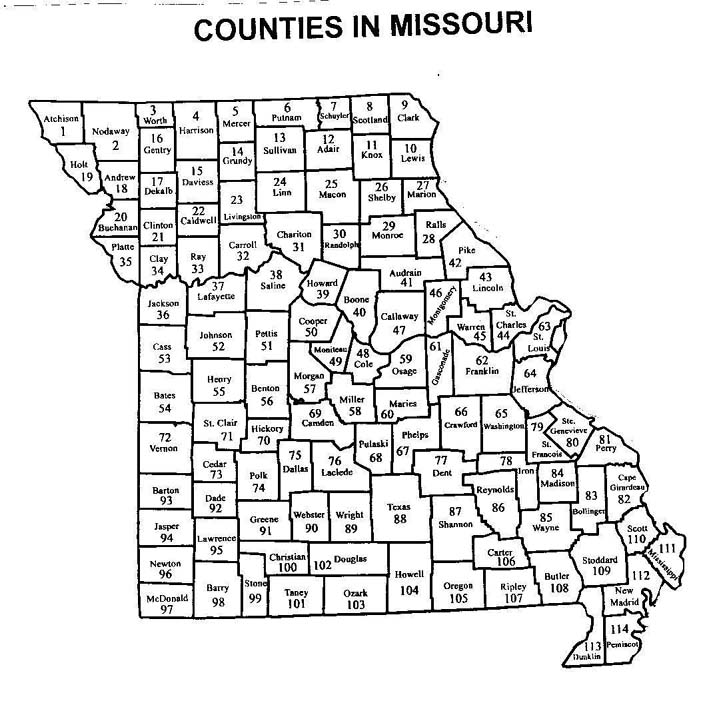 ATLAS OF MISSOURI VASCULAR PLANTS WITH DOT MAPS - Missouri state map with counties